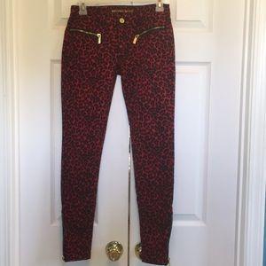 Leopard Print Red Michael Kors Skinny Jeans Size 0